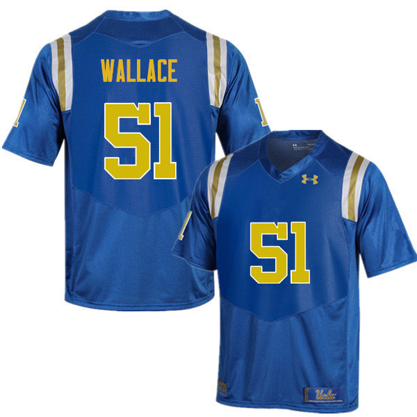 Men #51 Aaron Wallace UCLA Bruins Under Armour College Football Jerseys Sale-Blue