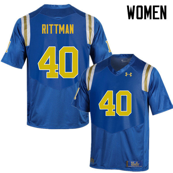Women #40 Justin Rittman UCLA Bruins Under Armour College Football Jerseys Sale-Blue